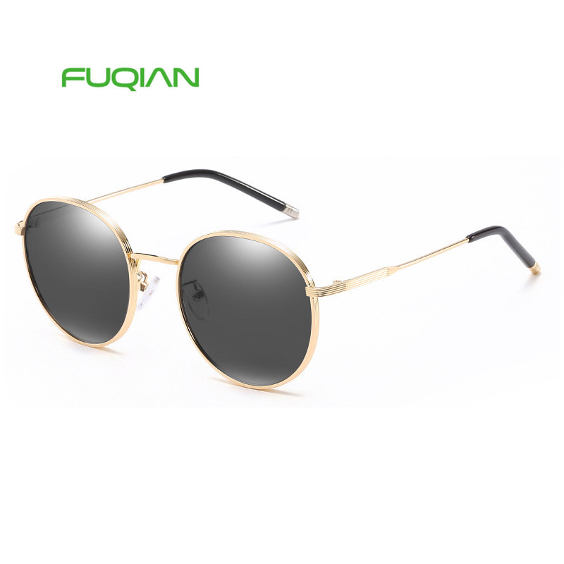 Fashion Metal Frame Round Gafas De Sol Women Men OEM Polarized Sunglasses