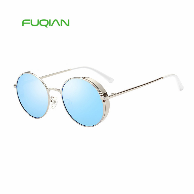 Classic female unisex blue sun glasses rounded metal frame polarized cheap eyeglassesClassic female unisex blue sun glasses rounded metal frame polarized cheap eyeglasses