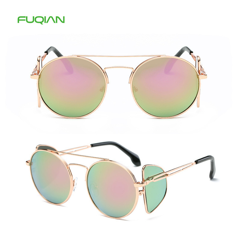 Trendy Four Lens Small Round Frame UV400 Designer Women Shades Eyewear