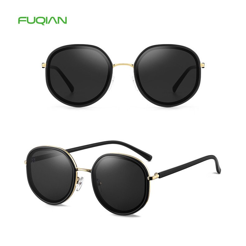 Vintage 2019 Round Frame UV400 Custom Logo Women Ladies Sunglasses