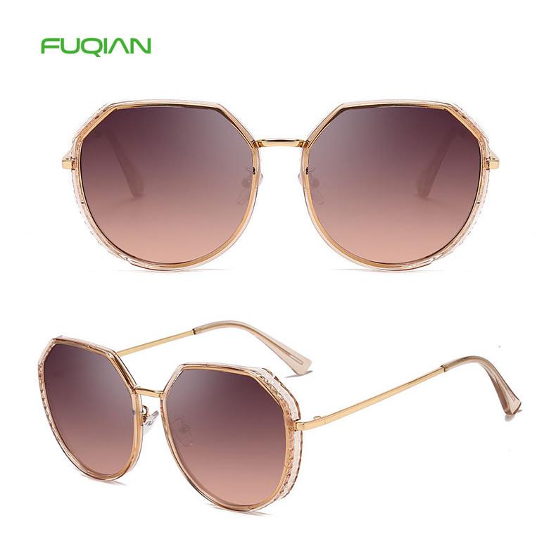 Vintage OEM Size Polygonal UV400 Round Designer Frame Women Sunglasses