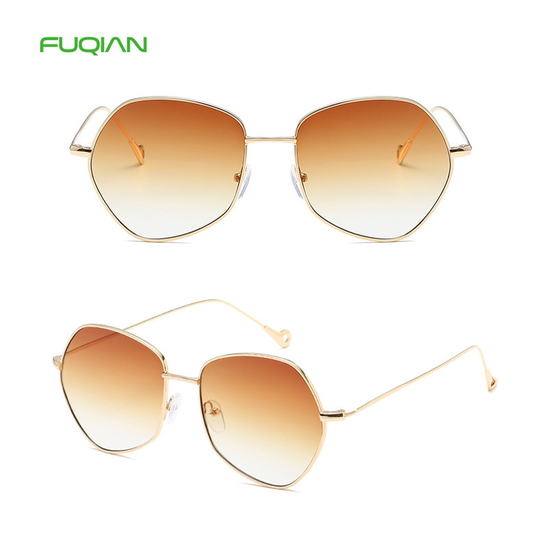Fashion OEM Colorful Irregular Round Frame Women Mirror Shades Eyewear