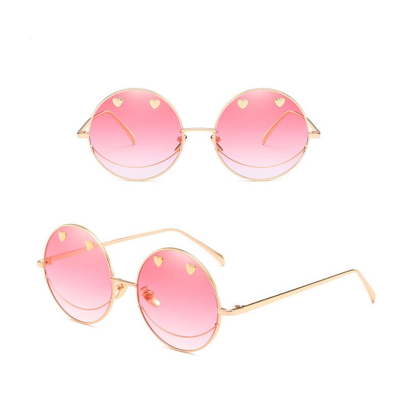 Cool Dazzle Heart Smile Face Round Frame PC Irregular Women Sunglasses