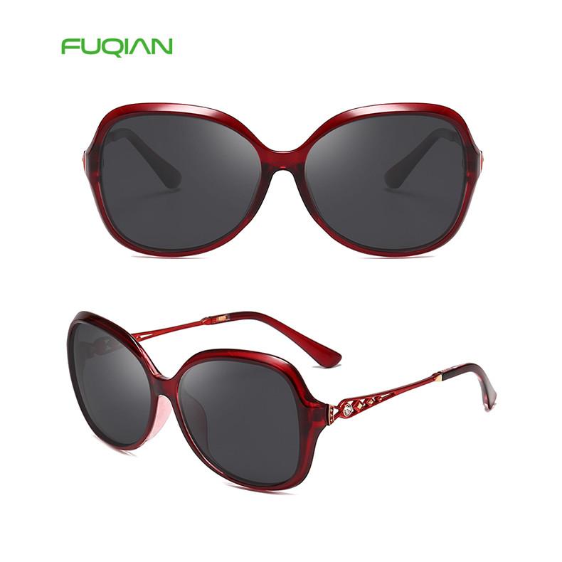 Wholesale Round Frame Shallow Diamond Temple Women Polarized Eyewear