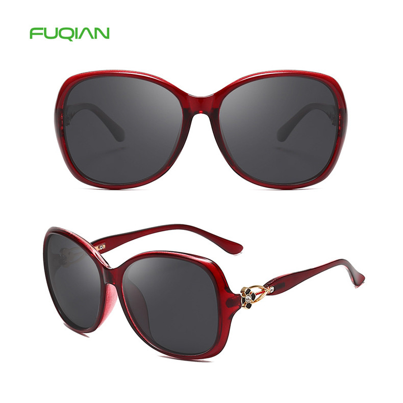 High Quality Four-leaf Clover Diamond Temple Round Frame Designer Women Sunglasses