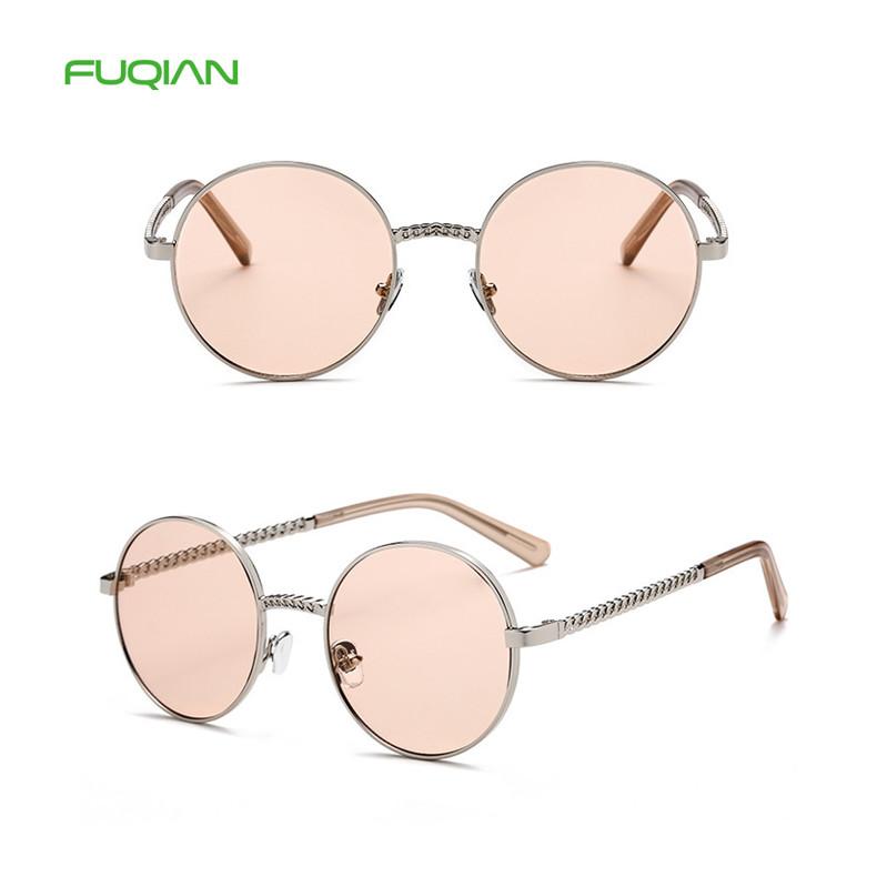 Vintage Fragrance Chain Round Frame Brand Designer Ladies Sunglasses