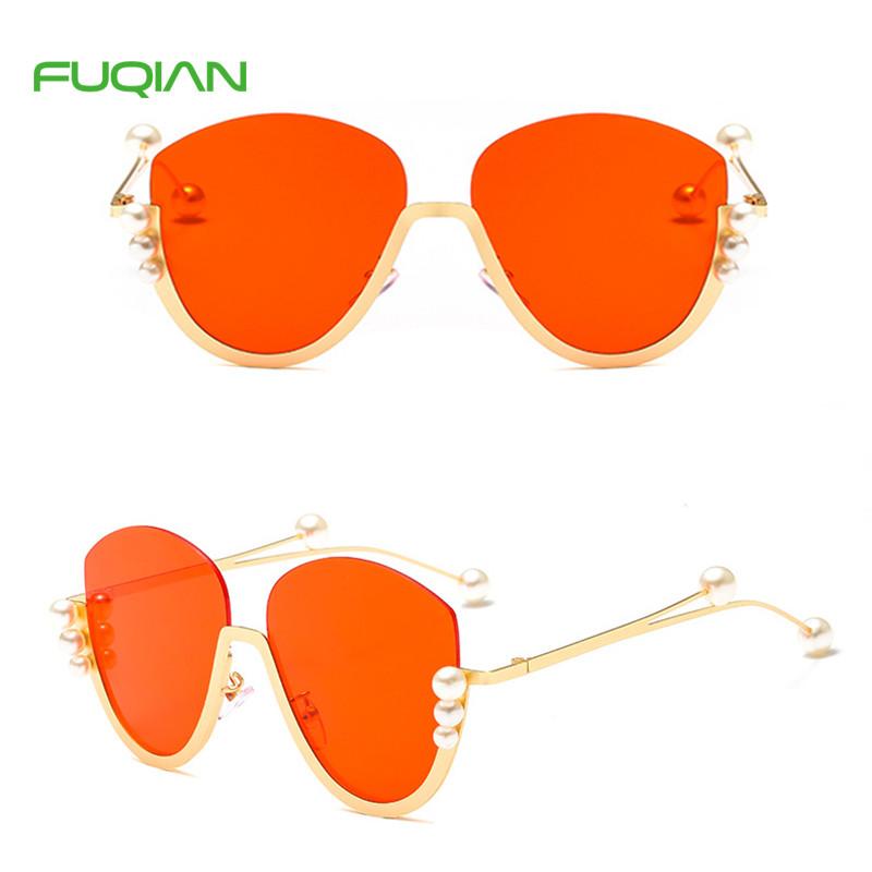 Customized Logo Luxury Semi-rimless OEM Pearl Round Women Red SunglassesCustomized Logo Fashionable Semi-rimless Pearl Round Women Sunglasses