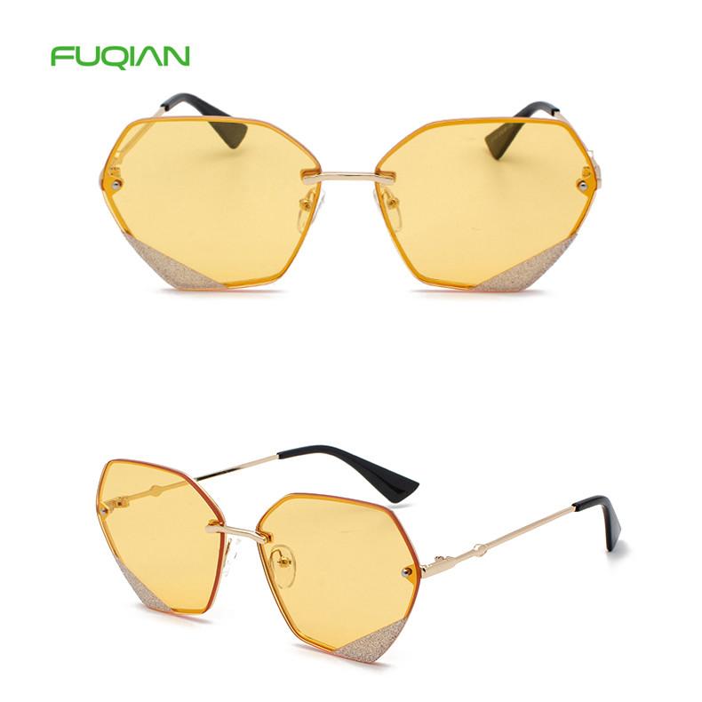 2019 Style Designer Logo Glitter PolygonWomen Round Sunglasses2019 Style Designer Logo Glitter Polygon Women Round Sunglasses