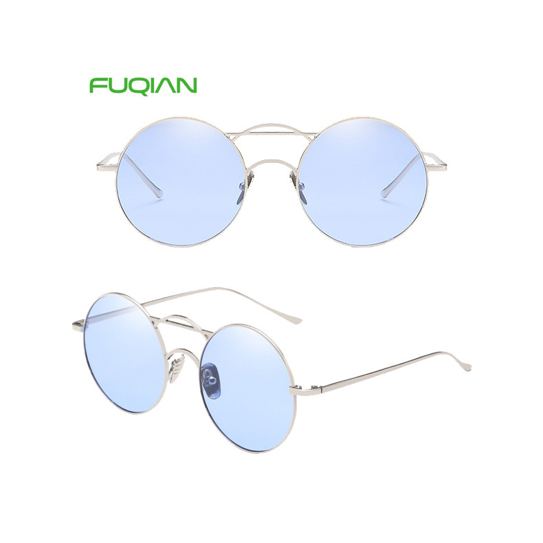 Retro Literary Oval Thin Frame UV400 PC Women Mirror Shades Sunglasses