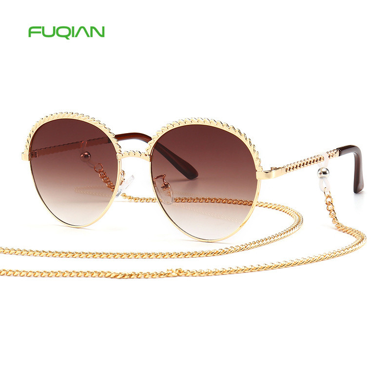 2020 New Arrivals Mirror Round Photochromic Metal Strap Chain Women Sunglasses