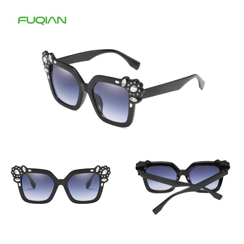 Luxury Square PC Rhinestone Decoration Brand Designer Women Sunglasses