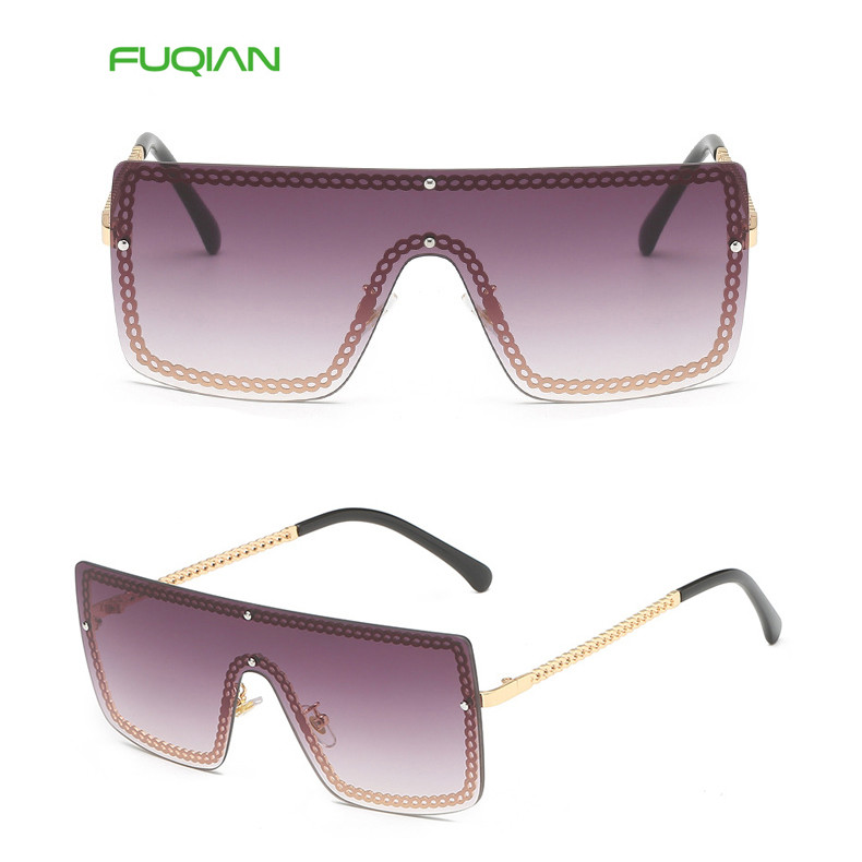 High Quality Photochromic Hollow Out Chain Square Sun Glass One Piece Women Sunglasses2019 Photochromic Square Silicone Ladies One Piece Sunglasses Chain
