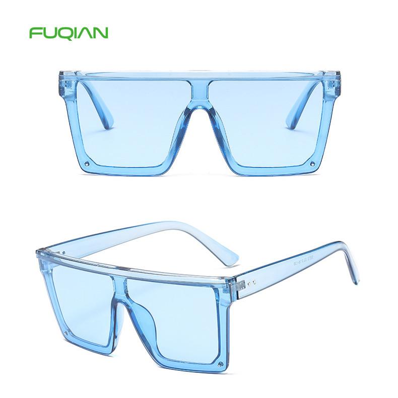 Flat Top Oversized Big Square Frame Custom Logo Retro Women Sunglasses