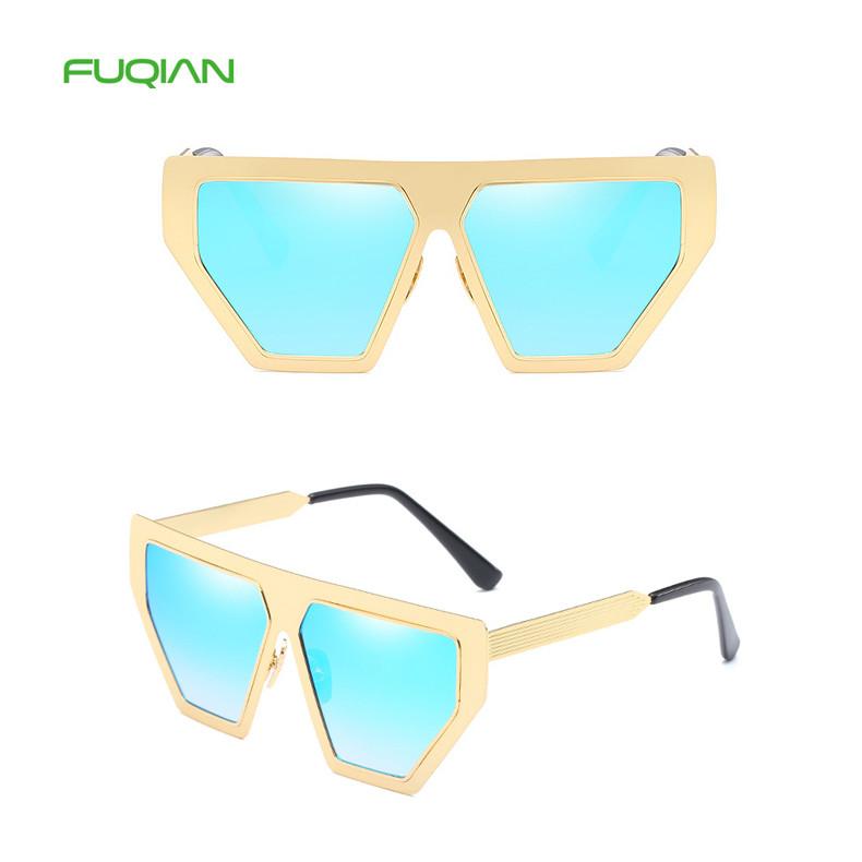 Trendy Square Metal Irregular Frame Women Ladies Designer Sunglasses
