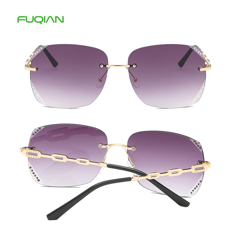 Fashion Hollow Out Chain Rimless Frame Diamond Lens Cat3 UV400 WomenSunglassesFashion Hollow Out Chain Rimless Frame Diamond Lens Cat3 UV400 Women  Sunglasses