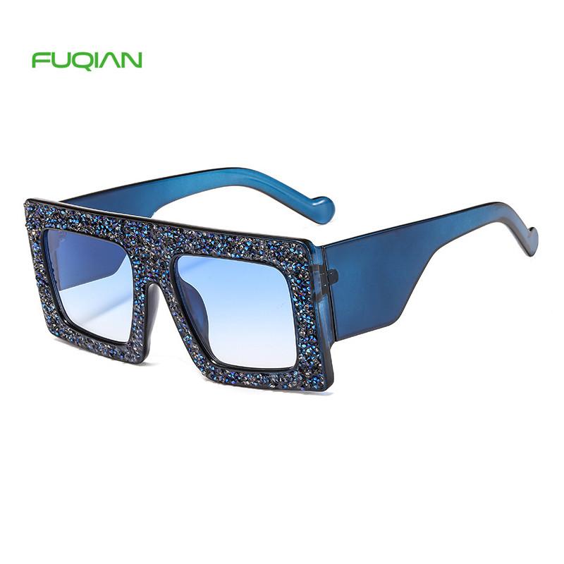 Fashion Glitter Flash Large Frame Pattern Square Rhinestone Sunglasses For Women
