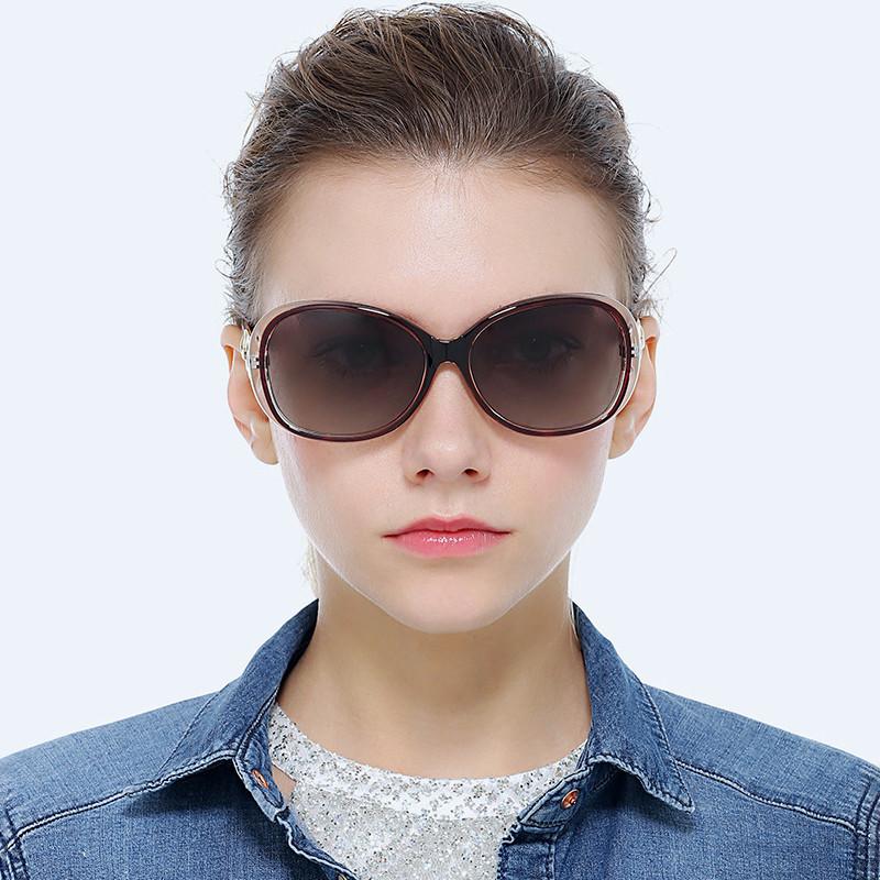 Trendy Oversized Oval Hollow Frame Photochromic Lens Women Polarized Sunglasses