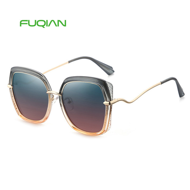 Fuqian eyewear big fancy frame polarized women sunglasses 2019 with custom logoFuqian eyewear big fancy frame polarized women sunglasses 2019 with custom logo