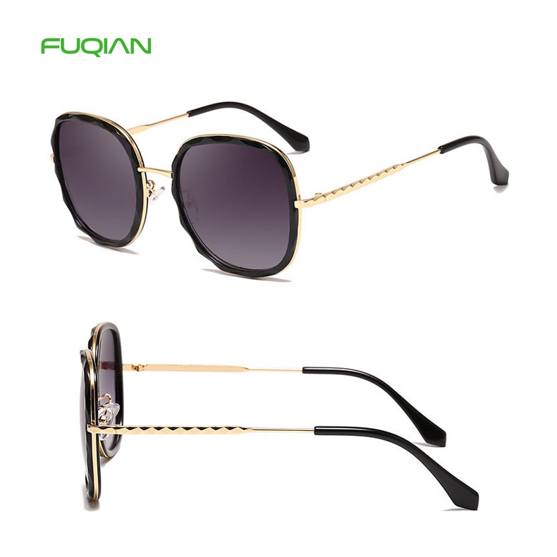 Hot 2019 Luxury Wave Round Oversized Gradient Ladies Shades Sunglasses
