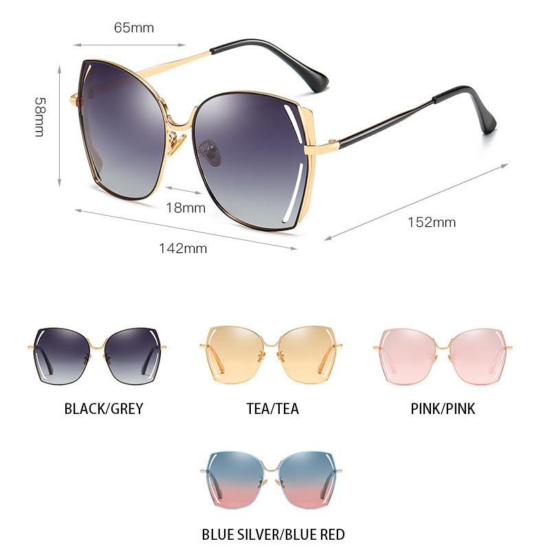 Colorful Oversized Gradient Square Cat Eye Women Polarized Sunglasses