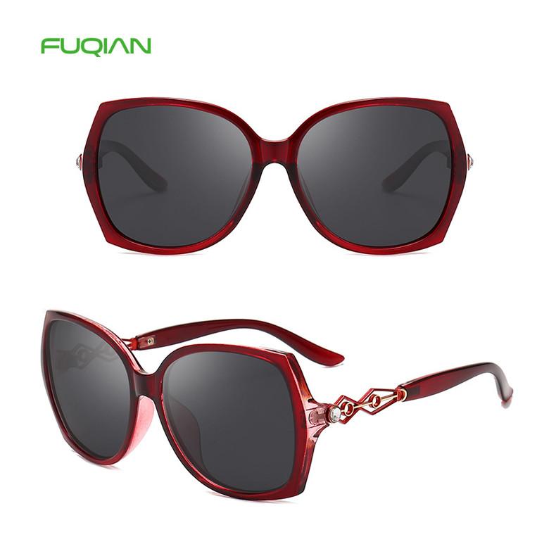 2019 Fashion Women Big Frame Cat3 Uv400 Hollow Oversize Polarized Sunglasses