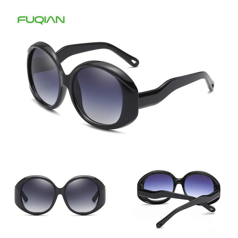 Ready Stock Round Polarized Retro Oversized Big Frame Women Sunglasses