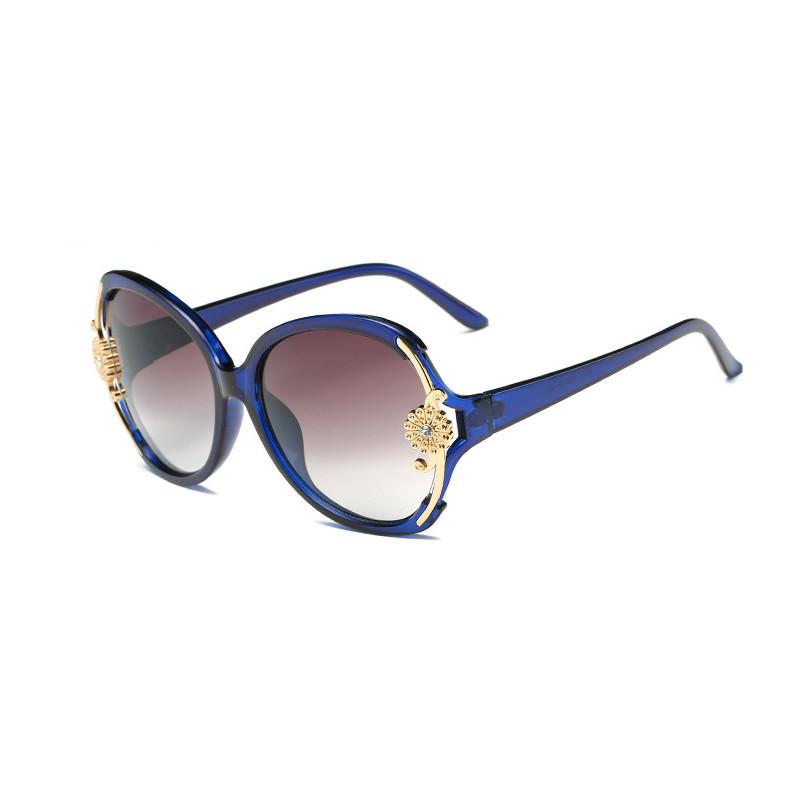 Vintage Gradient Women Oval Round Flower PC Frame Plastic Sunglasses
