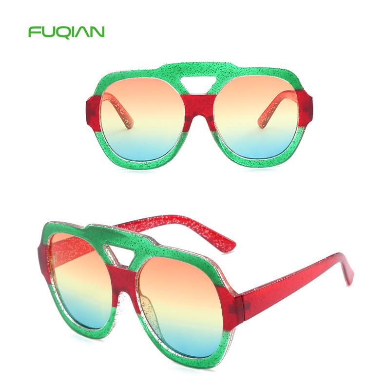 Fashion Designer Oversized Round Big Rainbow Frame PC Women Sunglasses