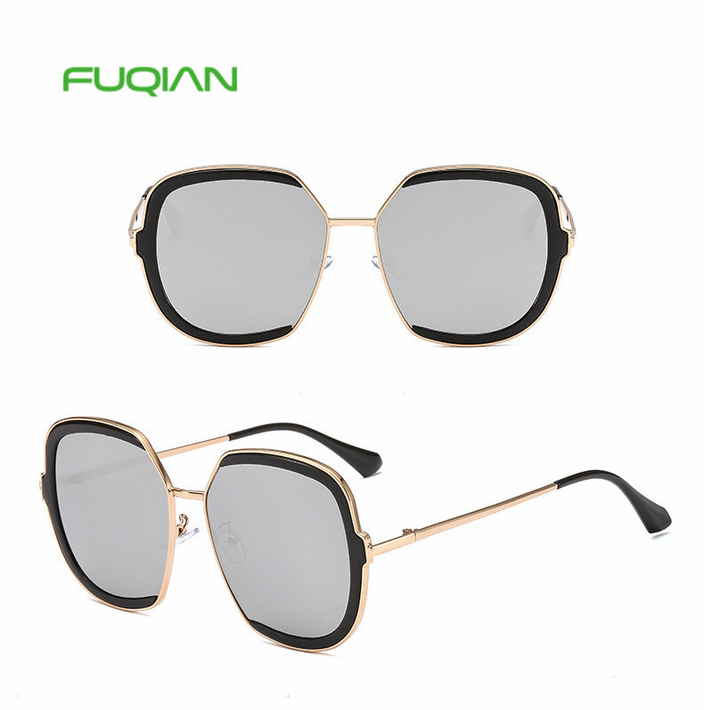 2019 Vintage Trend Metal Oversized Sunglasses Gradient Women Half Frame Glasses