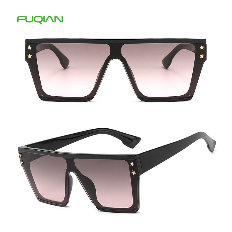 Fashionable Large Frame Star Rivet One PieceLadies Oversized SunglassFashionable Large Frame Star Rivet Women One Piece Sun Glasses Ladies Oversized Sunglass