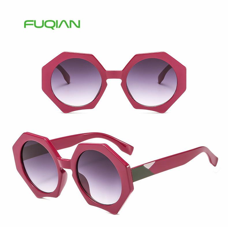 New Polygonal Round Frame Women Oversized Sunshade Sun Glasses Sunglasses