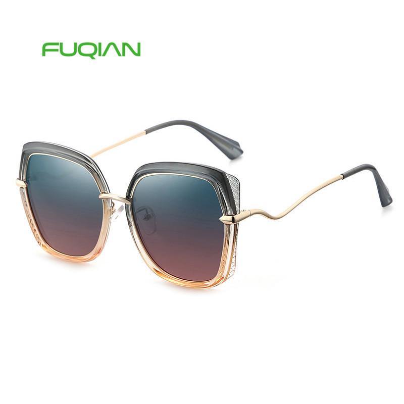 Fuqian eyewear big fancy frame polarized women sunglasses 2019 with custom logoFuqian eyewear big fancy frame polarized women sunglasses 2019 with custom logo
