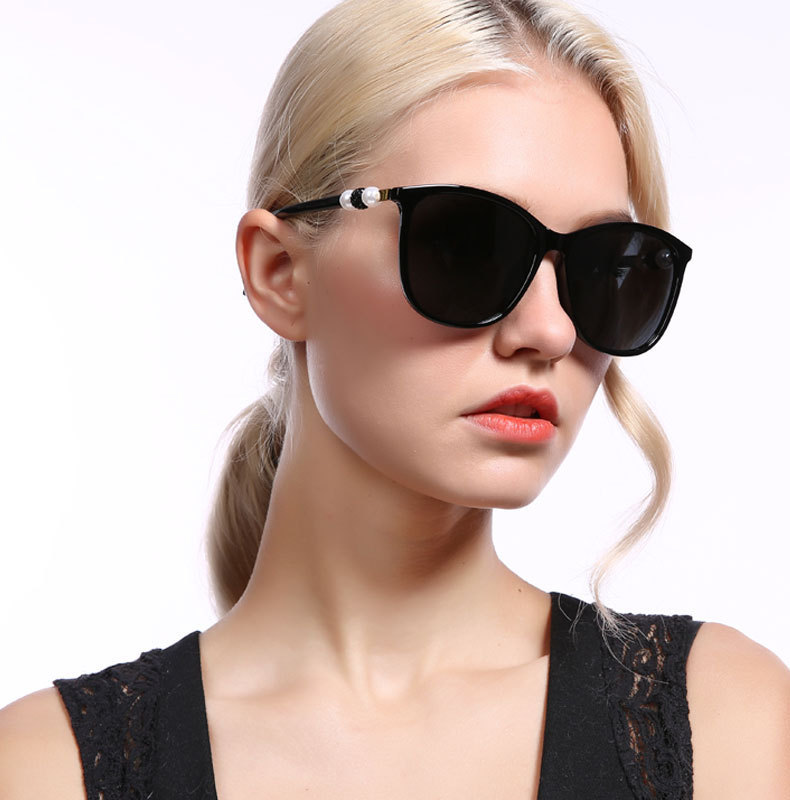 Retro big frame black ladies sun glasses pearl diamond oversized polarized sunglasses Retro big frame black ladies sun glasses pearl diamond oversized polarized sunglasses