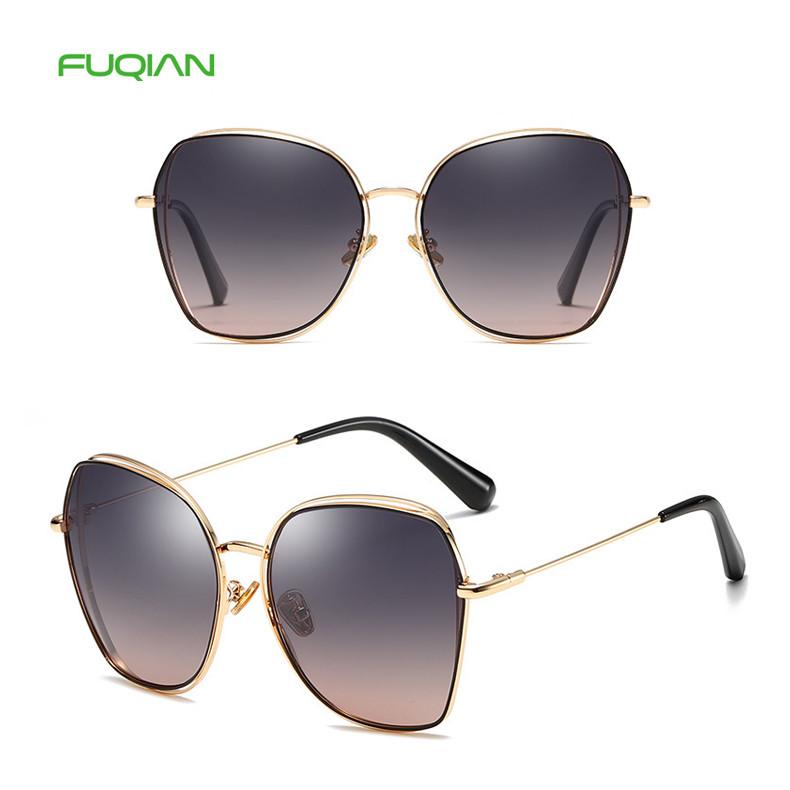 Vintage Oversized Polarized TAC Women Gradient Fashion Metal Sunglasses