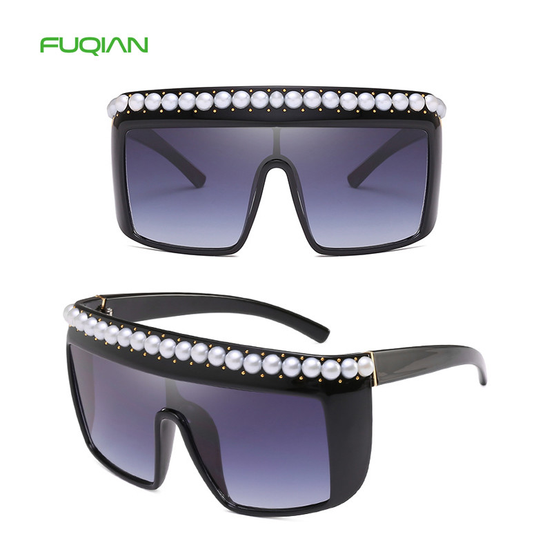 Retro Oversized Big Frame Rivet Pearl Decoration One Piece Lens Women Ladies Sunglasses