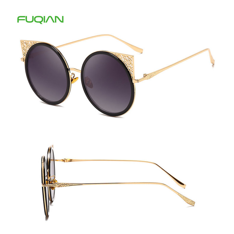Vintage Flower Cat Eye Round Frame PC Designer Ladies Women Sunglasses