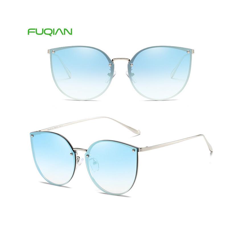 2019 Ready Stock Cat Eye Metal Plastic Mirror Shades Women Sunglasses