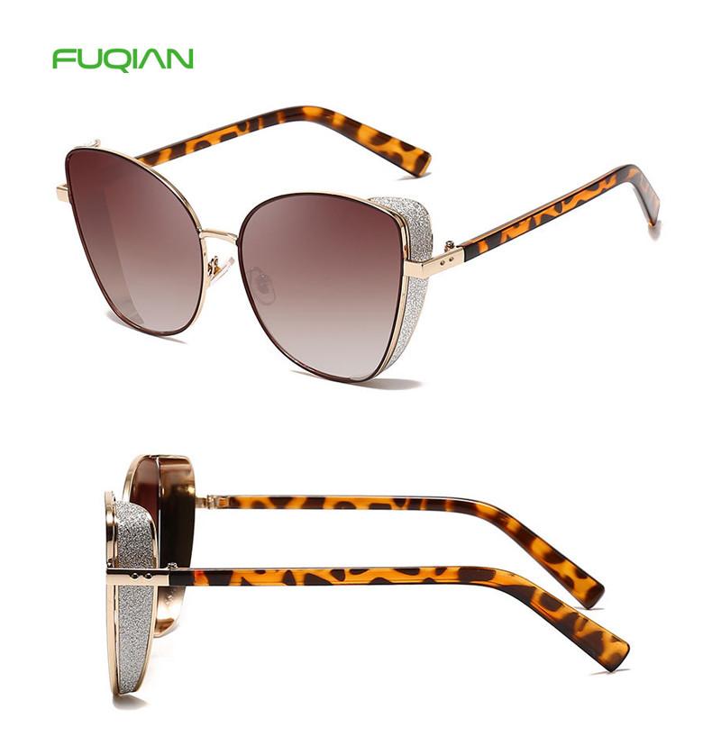 Retro Metal Small Frame Gradual Colorful Women Cat 3 UV400 Sunglasses
