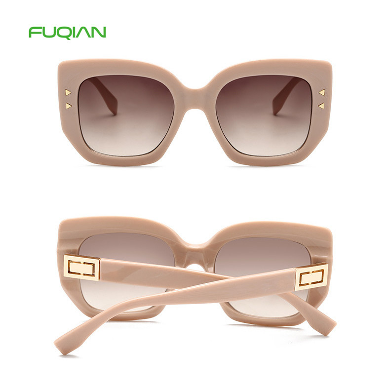 High Quality Cat Eye Square Frame Rivet PC Lens Retro Women Sunglasses
