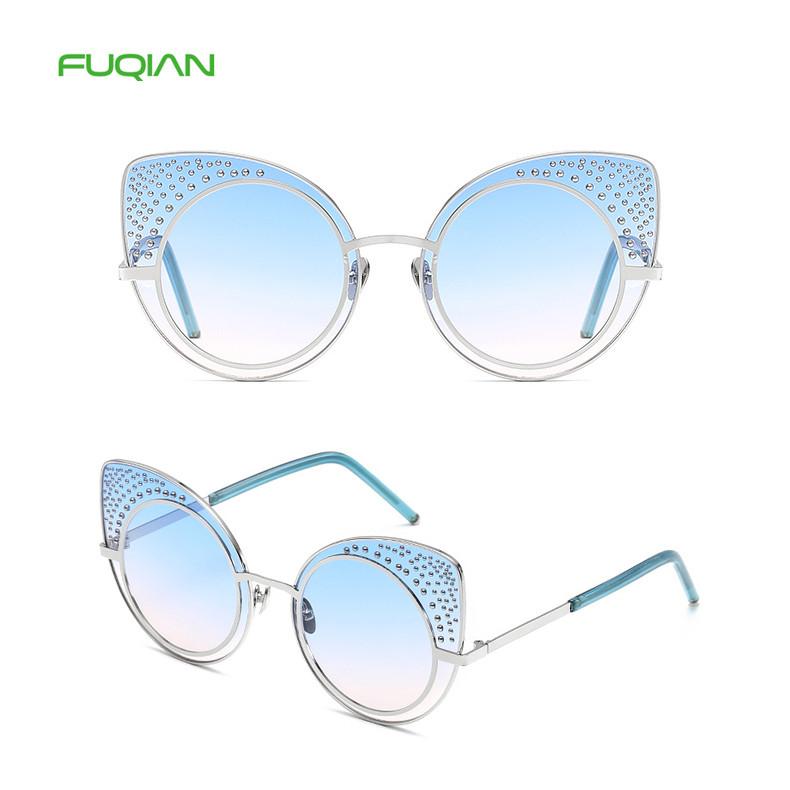 Trendy Diamond Decoration Cat 3 Eye UV400 Metal Shades Women Eyewear