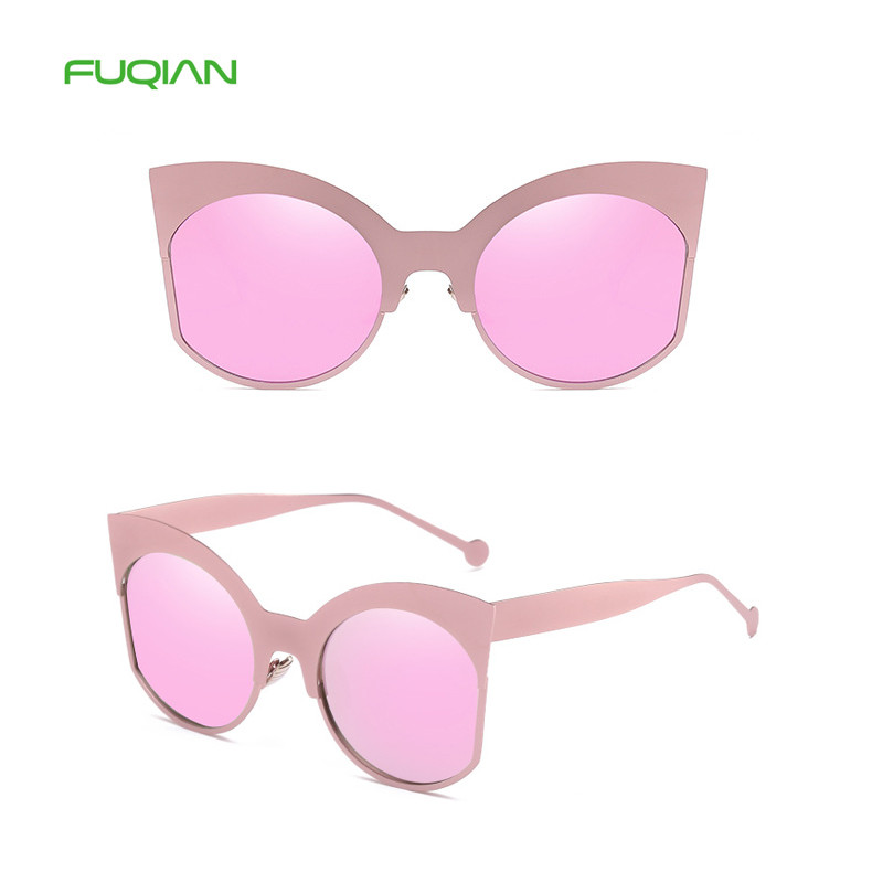 Hot 2019 OEM Metal Cat Eye UV400 Mirror Shades Ladies Women Sunglasses