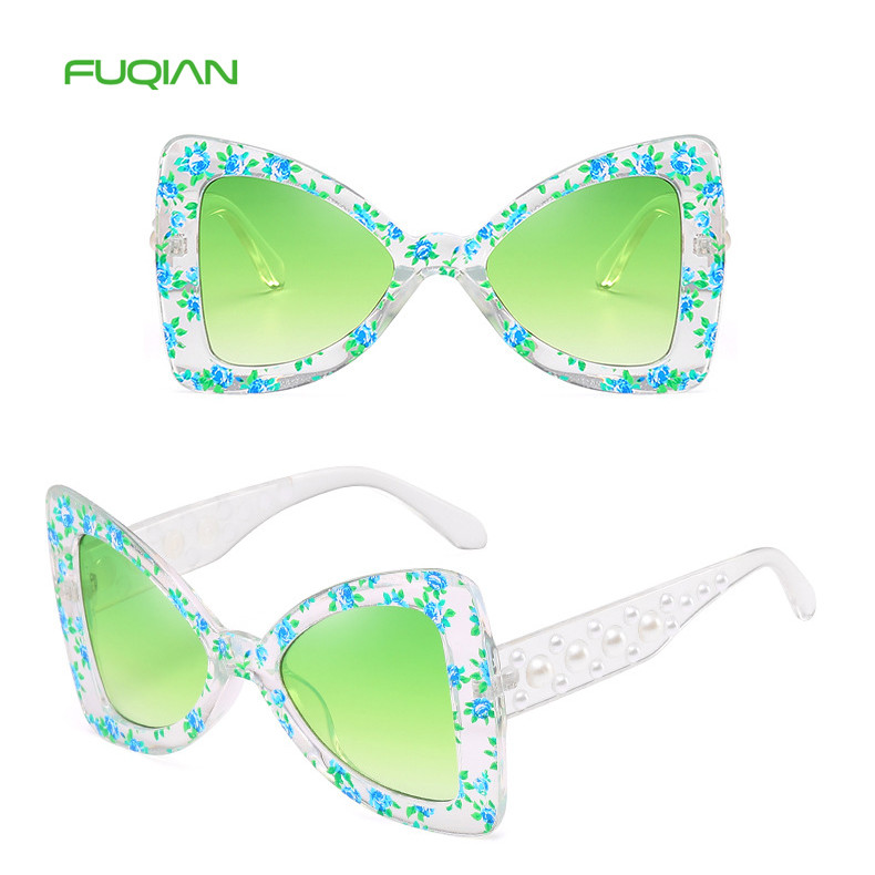 Fashionable Bow Triangle Flower Pearl Printed Temple Women Sunglasses