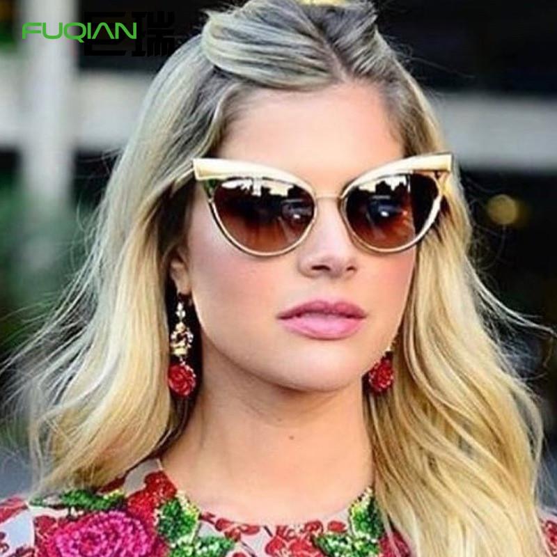 2019 Vintage Metal Cat Eye Frame UV400 PC Women Custom Logo Sunglasses