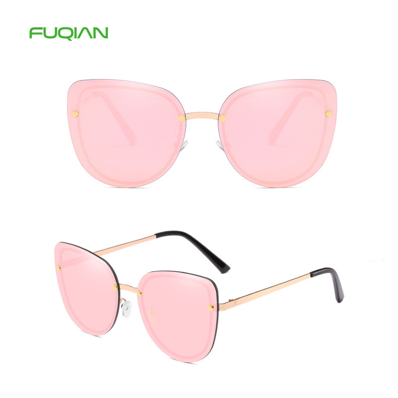 2019 Fashion Cat Eye Metal Rimless UV400 Ladies Shades Women Eyewear