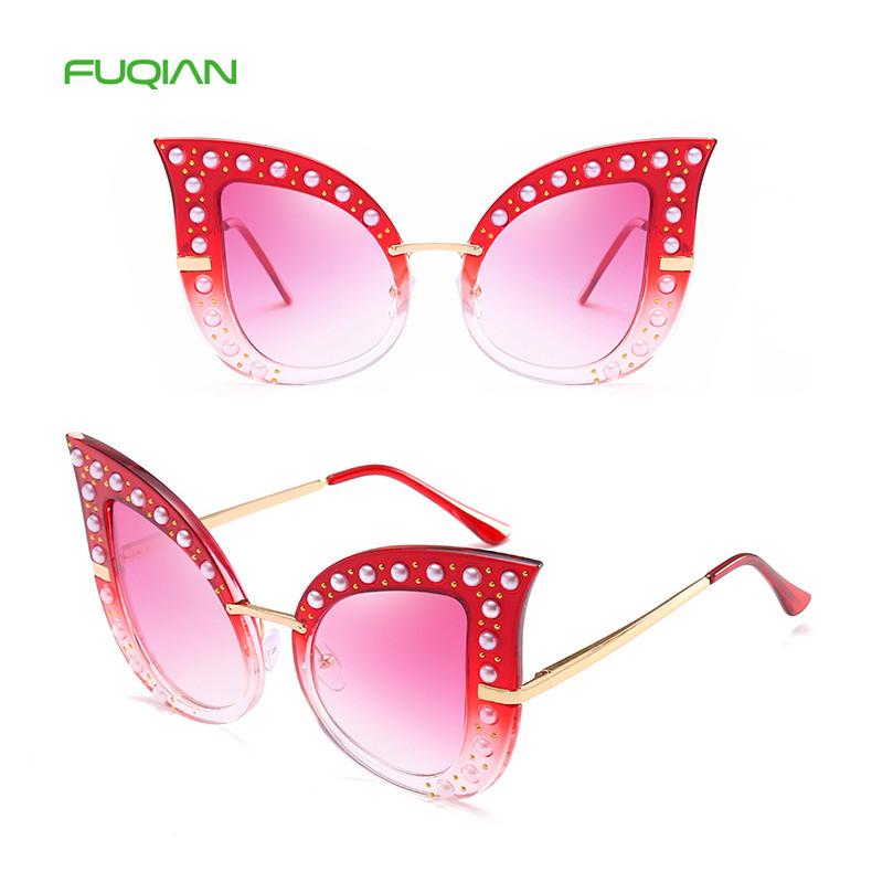New Arrival Big Metal Frame Pearl Rivet Cat Eye Retro Women sunglasses