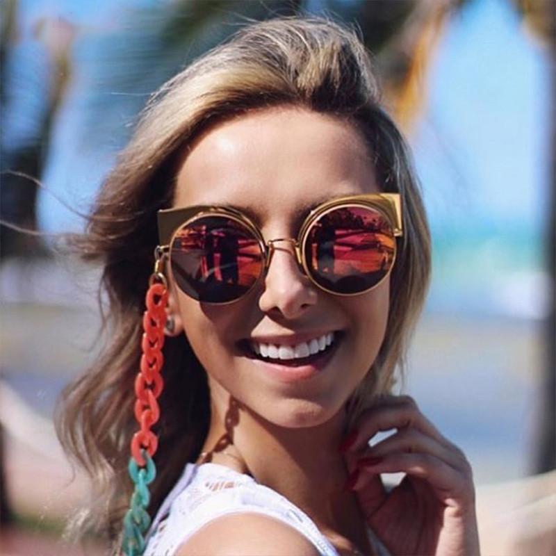 Vintage Plastic Round Lens Cat 3 UV400 Women Mirror Shades Sunglasses