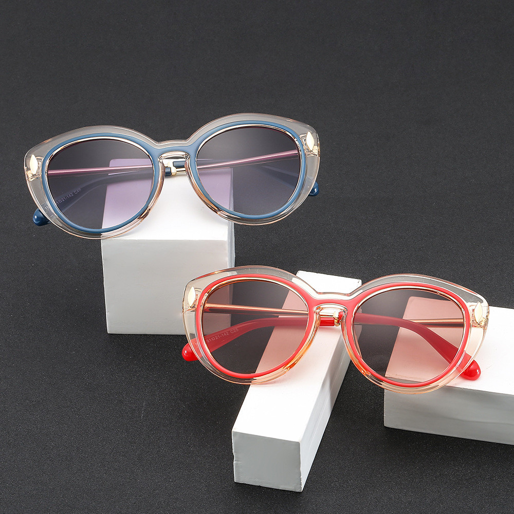 2019 new fashion rice nail femme women sunglasses two-color box cat eye glasses