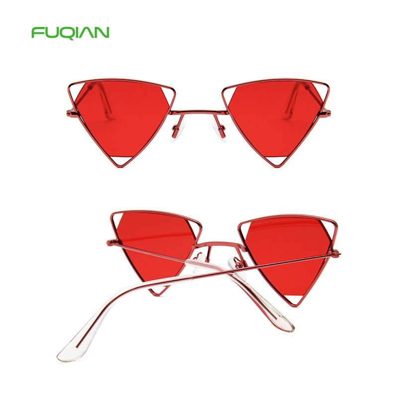 Fashion Triangle Metal Designer Frame Women Mirror Shades Sunglasses