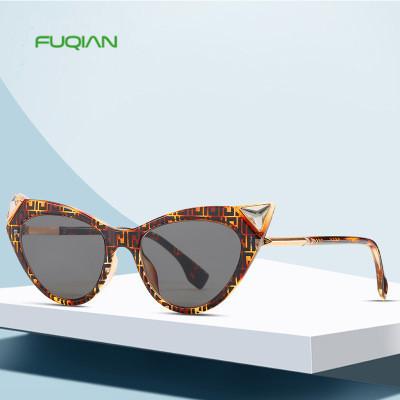 New Diamond Printing Personality Cat Eyes Sunglasses Women Sun Glasses
