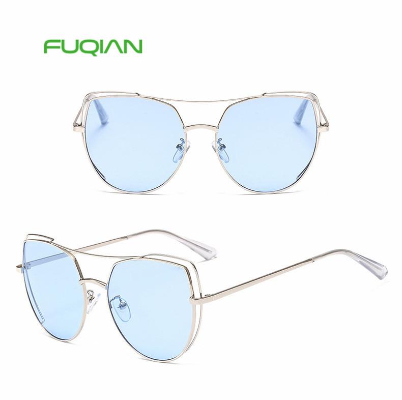 2019 New Cat Eye Women Yellow Sunglasses Fashion Hollow Metal Ladies Glasses